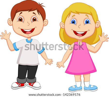 cute children waving hand