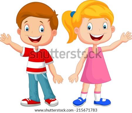 cute children waving hand - Cartoon Boy Images Free