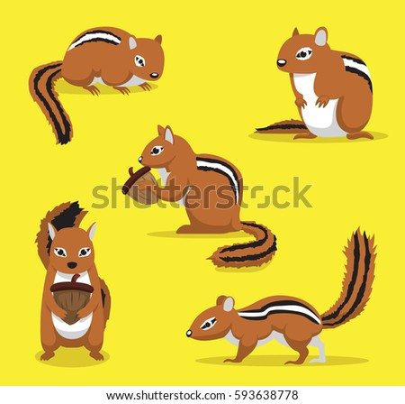 cute chipmunk poses cartoon