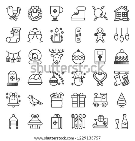 Cute Christmas and winter related icon set 7, editable outline.