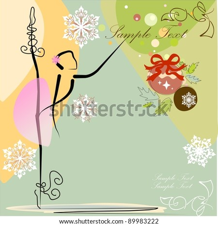 Cute Christmas ballet dancer . All objects are separate groups