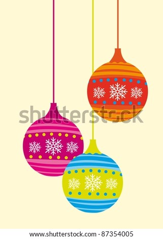 cute Christmas balls isolated over beige background. vector