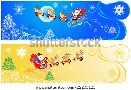 Cute Christmas banners. - stock vector