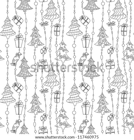 Cute Christmas black and white seamless pattern