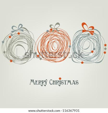 Cute Christmas card, abstract balls vector illustration
