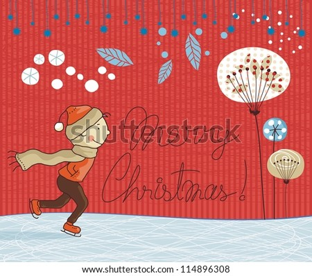 Cute Christmas card background with seasonal elements and additional space for text