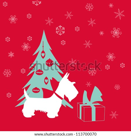 Cute Christmas Card - Scottish Terrier with present - in vector