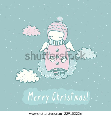 Cute Christmas card with angel in sky. Holiday background with funny cartoon angel in vector