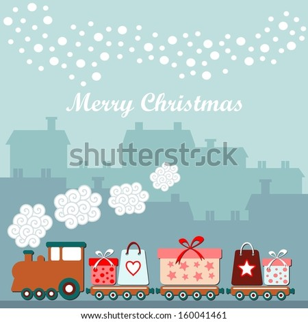 cute christmas card with train