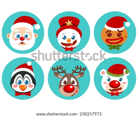 Cute Christmas character icons