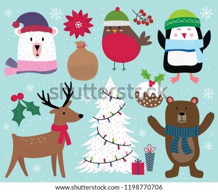 cute christmas character reindeer tree penguin bear robin and christmas ornament