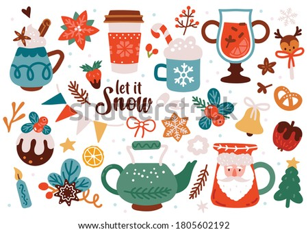 Cute Christmas decoration set. Isolated vector illustration of sweet Holiday party. Winter cozy clip art. Happy New Year Greetings. Kids poster.