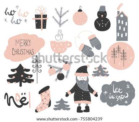 Cute christmas doodle elements collection. Vector hand drawn illustration.