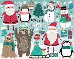 Cute Christmas Elements, Santa, Snowman, Presents, Snowflakes, Bears, Penguins, Christmas Tree, and More!