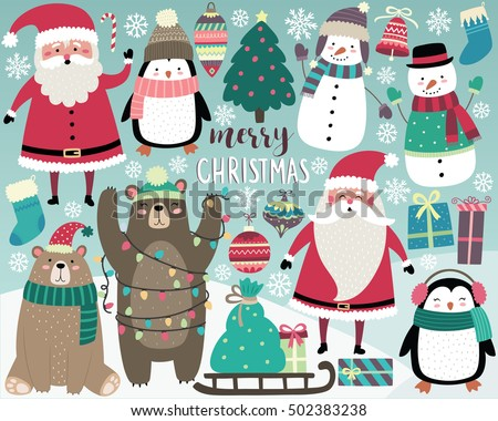 Cute Christmas Elements, Santa, Snowman, Presents, Snowflakes, Bears, Penguins, Christmas Tree, and More!