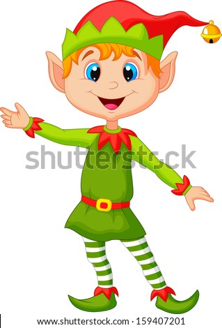 Cute Christmas elf presenting