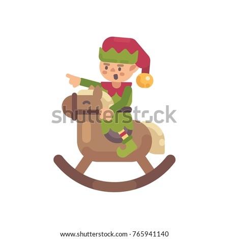 cute christmas elf riding a