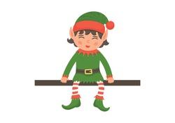 Cute Christmas elf sitting on the shelf on white background. Santa's helper.