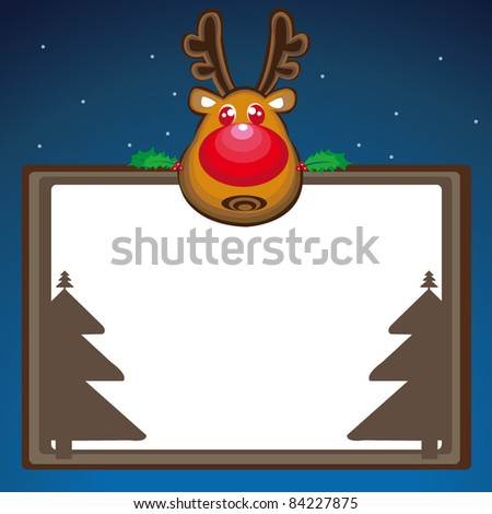 Cute christmas elk - vector illustration.