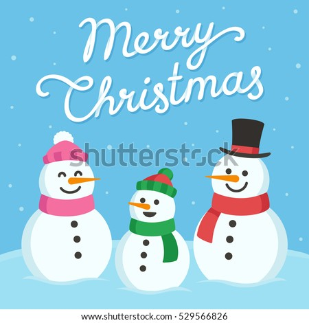 Stock Photo Cute Christmas greeting card. Cartoon snowman family (mom, dad and child) with text Merry Christmas.