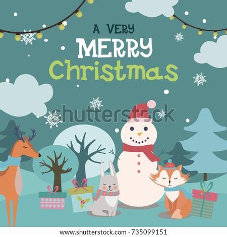Cute Christmas greeting card. Vector illustration