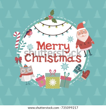 Cute Christmas greeting card. Vector illustration