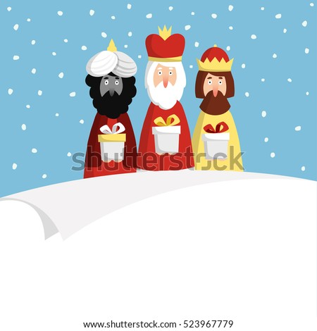 Cute Christmas greeting cards, invitation with three magi bringing gifts and blank paper. Biblical kings Caspar, Melchior and Balthazar. Flat design, vector illustration background.