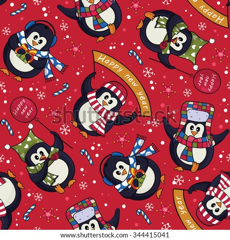 Cute Christmas penguins seamless pattern with candy canes and snowflakes