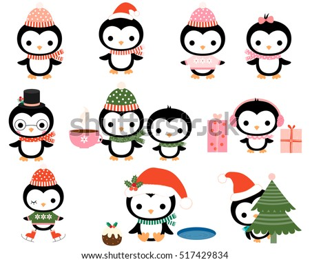 cute christmas penguins with