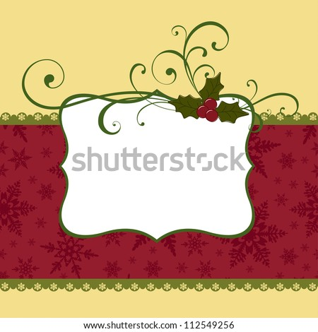 Cute christmas postcard template blank - stock vector