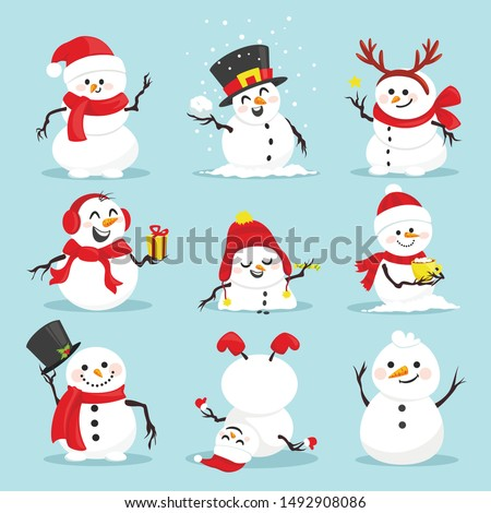 Cute christmas snowmen flat vector illustrations set. Winter outdoor activity for kids isolated cliparts pack. Funny snow man wearing hat, scarf and mittens collection on blue background