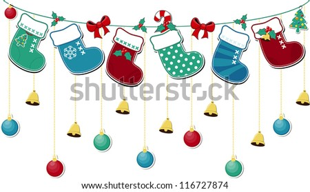 cute christmas socks with ornaments, in vector format very easy to edit, individual objects