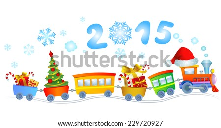 Cute Christmas train with a smoke in a look a 2015.