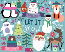 Cute Christmas Vector Illustration, Bright Colorful Holiday Design Elements