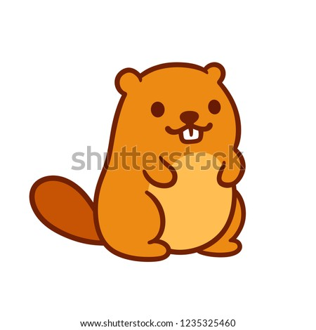 Cute chubby cartoon beaver, little kawaii mascot character. Isolated vector clip art illustration.