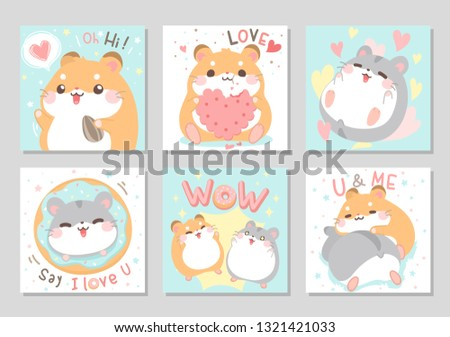 Cute chubby hamster best friends. Duo lovely funny happy with their favourite things in soft pastel color. Lovely, valentine day. Vector illustration.