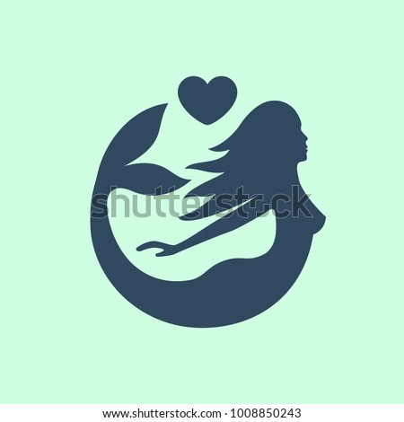 cute circle mermaid with heart