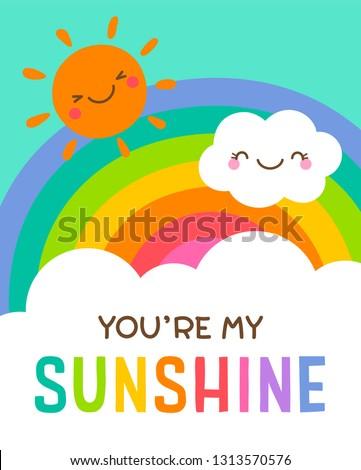 cute cloud  sun and rainbow