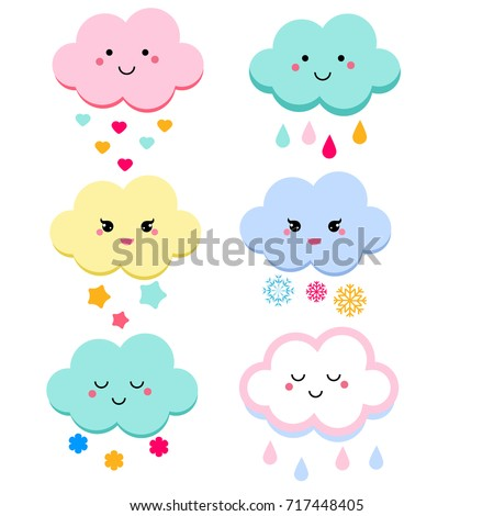 Cute clouds vector illustration for kids. isolated design children, stickers. Baby shower clouds in kawaii style