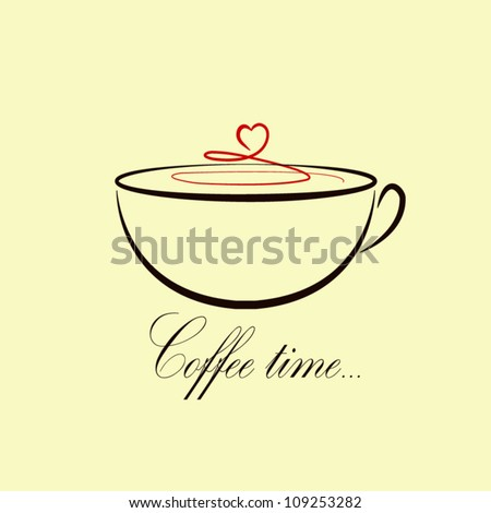 Cute coffee time card. Coffee cup. Vector illustration.