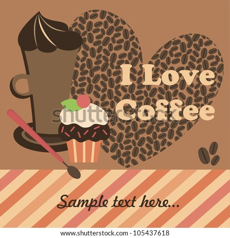 cute coffee time card. vector illustration