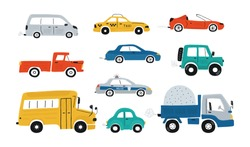 Cute collection colorful cars isolated on a white background. Icons in hand drawn style for design of children's rooms, clothing, textiles. Vector illustration