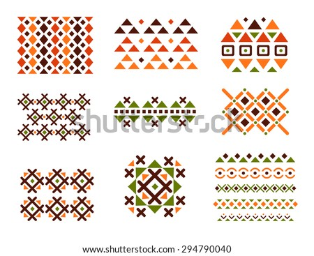 Cute Collection of Ethnic patterns. Geometric and aztec decor elements. Trendy backgrounds and logotypes. Vector. Isolated.