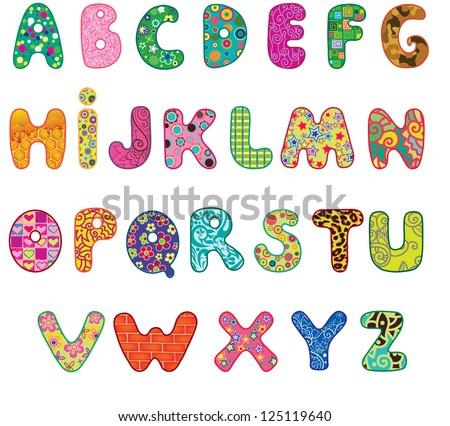 Royalty Free Fabric Alphabet Fun Cartoon Letters 421489432 Stock