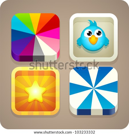 Cute colorful app icon set