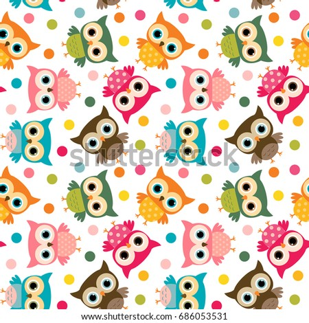 Cute colorful bird seamless pattern with owls and dots for kids stationery designs and clothing