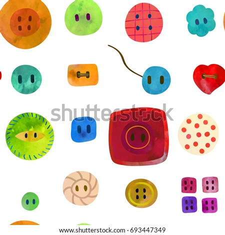Cute colorful buttons. Seamless pattern. Watercolour imitation.