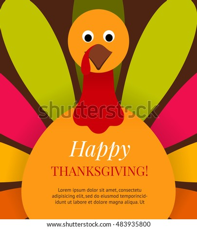 cute colorful cartoon turkey