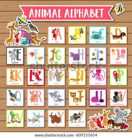 Cute colorful children zoo alphabet flash cards on wood background. Funny cartoon animal. Kids abc education. Learning English vocabulary. Vector illustration.
