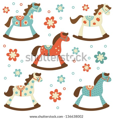Cute colorful collection of rocking horses Photo stock ©